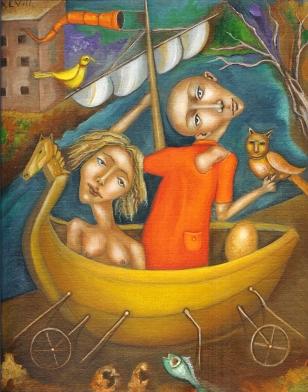 Salvador Di Quinzio-The Abduction of helen-acrylic on Belgian linen
